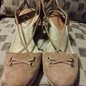 Leather Wrap Around Wedge Sandals Sz 8